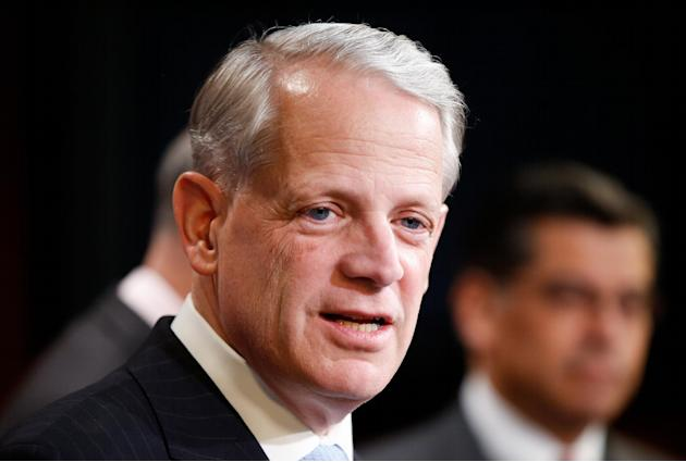 FILE - in this March 25, 2015 file photo, Rep. Steve Israel, D-N.Y. speaks during a news conference on Capitol Hill in Washington. The party that wins the impending Supreme Court decision on President