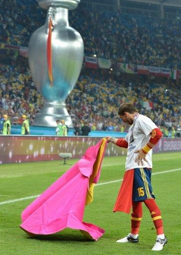 Spanish defender Sergio Ramos performs a Veronica pass with a matador cape