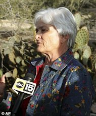 Patricia Maisch talks to press about her actions outside the Tuscon, AZ Safeway that may have saved lives. (AP/Via Daily Mail)