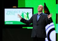 "Peter Molyneux introduces the new XBox 360 ""Project Natal"" at a Microsoft XBox 360 media briefing on June 1, 2009 in Los Angeles, California. Videogame industry legend Peter Molyneux says the time is right for people to play God on smartphones"