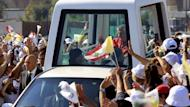 Pope Benedict XVI arrives in his popemobile to lead an open-air mass in the Lebanese capital Beirut. Pope Benedict XVI prayed on Sunday that Middle East leaders work towards peace and reconciliation, stressing again the central theme of his visit to Lebanon, whose neighbour Syria is engulfed in civil war