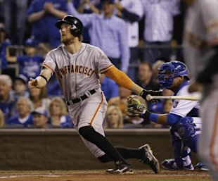 Hunter Pence watches his two-run home run during the first inning. (AP_