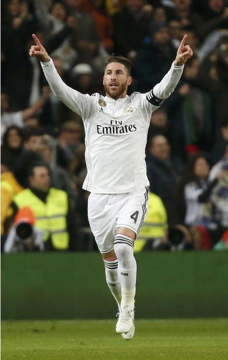 Real Madrid's Sergio Ramos celebrates after scoring a goal during their King's Cup round of 16 second leg soccer match in Madrid