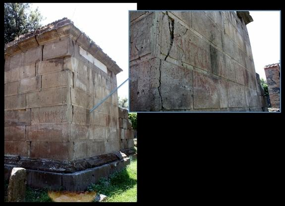 A tomb in Pompeii covered in red graffiti. Wall scribblings were common all over the city, both on public buildings and inside and outside private homes. Research presented in 2012 at the annual meeting of the Archaeological Institute of Americ