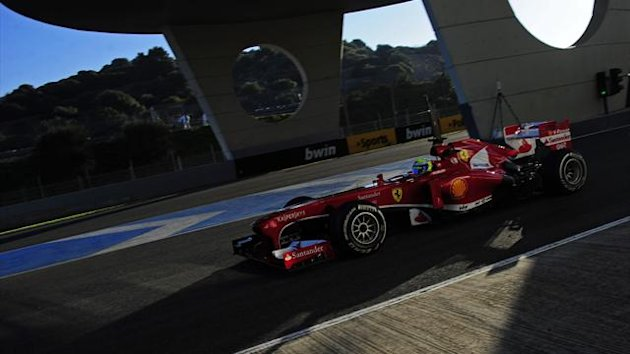 Ferrari's Brazilian driver Felipe Massa steers his Formula One during the test at Jerez (AFP)