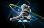 "This undated image provided by Nike, the 2011 Nike Mag is seen. Nike is going back to the future. The sneaker maker on Thursday, Sept. 8, 2011 said it has created a limited-edition shoe based on a glowing pair that appeared in the popular 1989 movie ""Back to the Future II."" The 2011 Nike Mag is designed to be an exact replica of the fictional sneaker, including a glowing Nike name on the strap. But unlike the movie version, these shoes won't lace themselves. (AP Photo/Nike)"