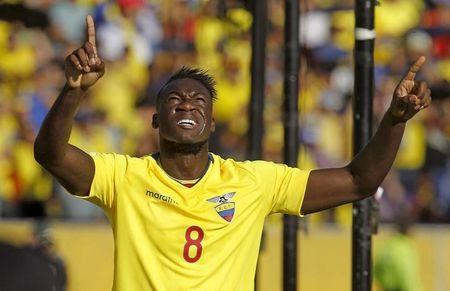 Ecuador's Caicedo celebrates after scoring a goal during their 2018 World Cup qualifying soccer match against Uruguay at Atahualpa stadium in Quito