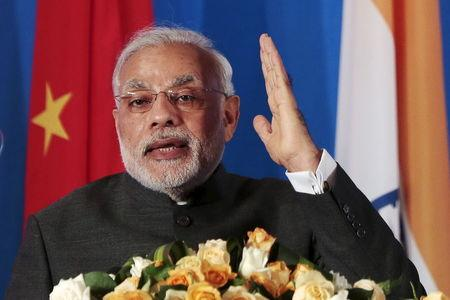 Indian Prime Minister Narendra Modi attends the India-China Business Forum in Shanghai