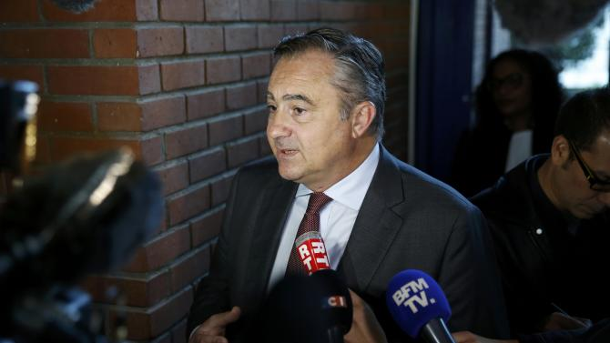 Air Frances director of Legal Affairs Franck Raimbault speaks to journalists as he arrives at the courthouse in Bobigny