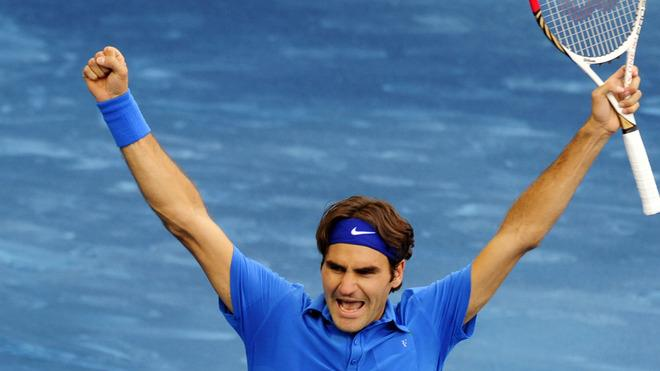 Swiss Roger Federer Celebrates AFP/Getty Images