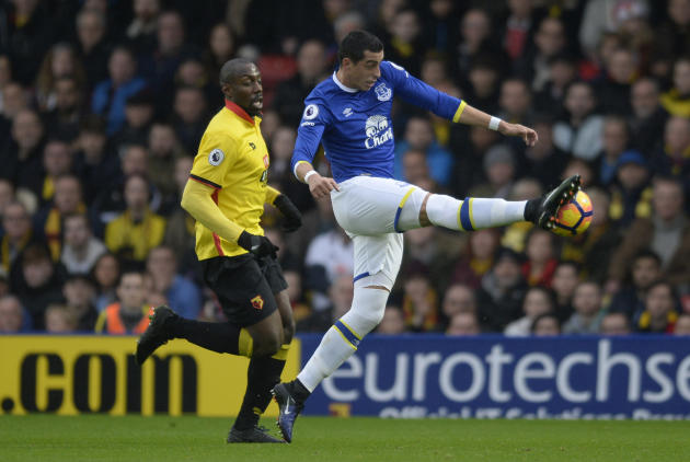 Everton's Ramiro Funes Mori in action with Watford's Stefano Okaka