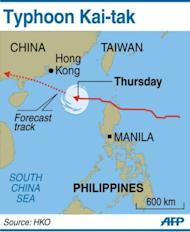 Map showing the path of Typhoon Kai-tak, moving towards the western coast of Guangdong on Thursday