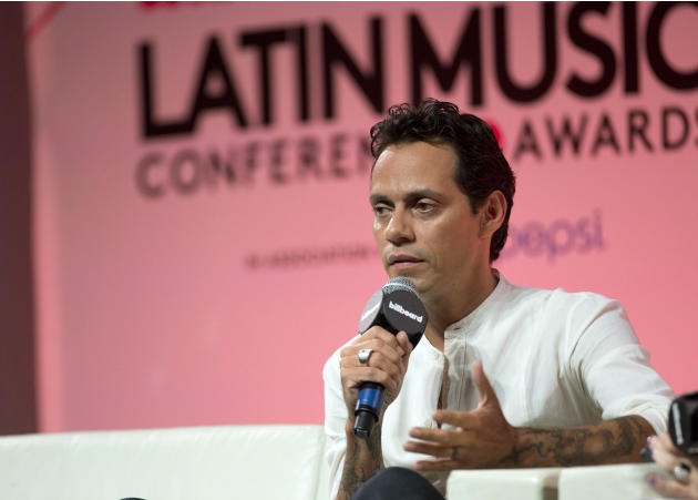 Marc Anthony speaks at the Billboard Latin Music Conference Billboard Icons Q&A in Miami, Wednesday, April 23, 2014. (AP Photo/J Pat Carter)