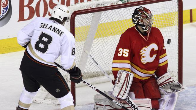 Henrik Karlsson #35 Of The Calgary Flames Is Scored On By Bobby Ryan (not Pictured) As Teemu Selanne #8 Of The Anaheim Getty Images
