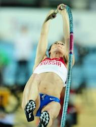 Russia's gold medal winner Yelena Isinbayeva competes during the women's pole vault final at the 2012 IAAF World Indoor Athletics Championships at the Atakoy Athletics Arena in Istanbul