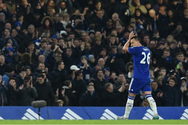 Chelsea's defender John Terry leaves the pitch after being substituted during the English Premier League match against Newcastle United at Stamford Bridge in London on February 13, 2016