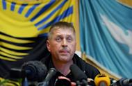 "The separatist leader and self-proclaimed ""people's mayor"" of the eastern Ukrainian city of Slavyansk, Vyacheslav Ponomaryov, speaks during a press conference in Slavyansk on April 26, 2014"