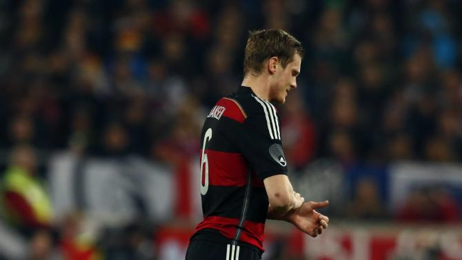 Germany's Jansen leaves the pitch during their international friendly soccer match against Chile in Stuttgart