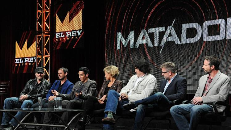 "El Rey Founder/Director Robert Rodriguez, Creator/Executive Producer Roberto Orci, actors Gabriel Luna, Nicky Whelan, Alfred Molina, Creator/Executive Producer Jay Beattie and Creator/Executive Producer Dan Dworkin onstage during the ""Matodor"" segment of the El Rey Network 2014 Summer TCA on Thursday, July 10, 2014, in Beverly Hills, Calif. (Photo by Richard Shotwell/Invision/AP)"