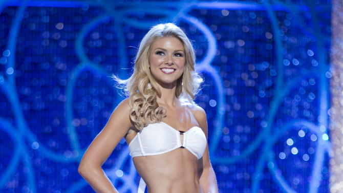 This photo courtesy Miss America Organization shows Miss South Carolina Ali Rogers, 20, from Laurens, S.C. appears on stage modeling a swimsuit Tuesday, Jan. 8, 2013, at the Planet Hollywood Resort & Casino in Las Vegas.  Rogers, Miss South Carolina and Alicia Clifton Miss Oklahoma have racked up prizes in the first day of preliminary Miss America competition in Las Vegas. (AP Photo/Courtesy B. Vartan Boyajian/MAO)