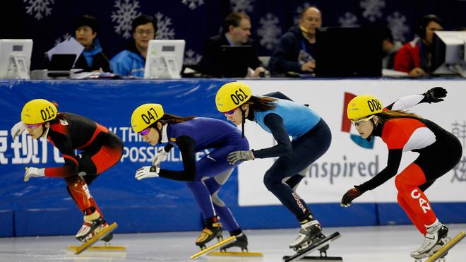 (L-R) Liu Qiuhong Of China, Cho Ha-Ri Of Korea, Lana Gehring Of The United States And Valerie Maltais Of Canada Wait Getty Images