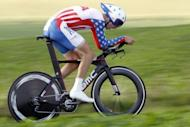 US cyclist Taylor Phinney rides during the time trial at the UCI World Championships cycling in Valkenburg. Germany's Tony Martin on Wednesday successfully defended his world time-trial title, beating Phinney by five seconds over 45.7km in Valkenburg, the Netherlands
