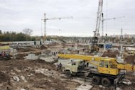 "This picture released on January 26, 2013 by Fc Mordovia shows a construction site of a new football stadium in Saransk, the capital of Russia's republic of Mordovia. ""When Saransk was named as the host city we were all happy. It wasn't just recognition of our services, it was a breakthrough for further economic development of the region,"" Vladimir Volkov, the head of the Mordovia region told AFP"