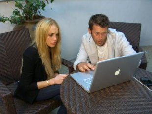 Scott and Lindsay Lohan hard at work