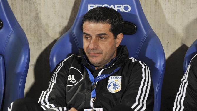 Christodoulou, Coach of Cyprus' National Team, looks on during their International Friendly football match against North Ireland at Gsp Stadium