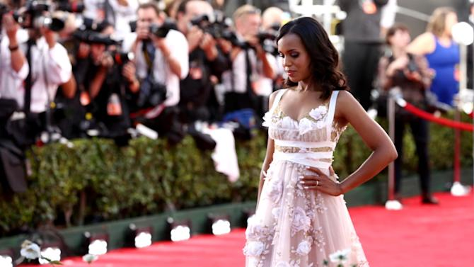 Kerry Washington arrives at the 65th Primetime Emmy Awards at Nokia Theatre on Sunday Sept. 22, 2013, in Los Angeles. (Photo by Matt Sayles/Invision for Academy of Television Arts & Sciences/AP Images)