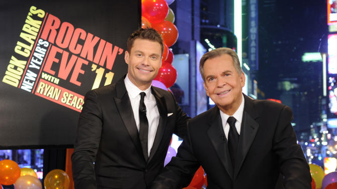 FILE - In this file image provided by ABC, Dick Clark, right, and Ryan Seacrest are shown in New York. As New Year's Eve nears, Seacrest is focused on getting ready for the show, which, with related programming, will blanket ABC from 8 p.m. until past 2 a.m. EST. This will be Seacrest's eighth New Year's Eve turn for ABC. But it's his first since Clark's death last April at age 82. (AP Photo/ABC, Ida Mae Astute, File)