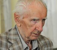 Laszlo Csatary leaves a Budapset courthouse on July 18. Original documents from the 1948 Nazi war crimes trial in absentia of Csatary -- now under house arrest in Hungary -- have been found in Slovakia, a historian there was quoted as saying