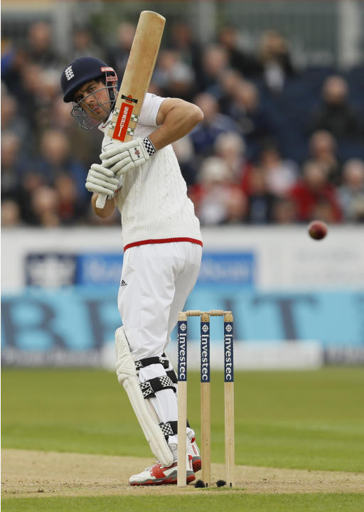 England's Alastair Cook leaves a delivery