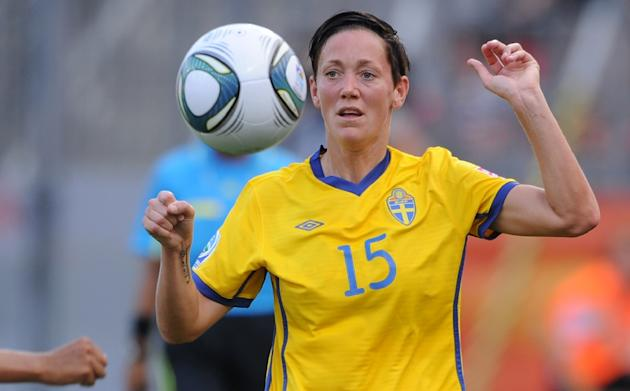 Sweden's midfielder Therese Sjogran controls the ball during the FIFA women's World Cup match Colombia vs Sweden on June 28, 2011