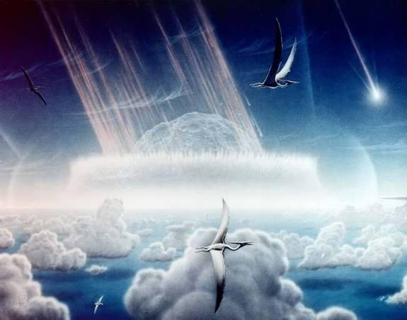An artist's impression of a giant space rock slamming into Earth 65 million years ago near what is now Mexico's Yucatan Peninsula. A consortium of scientists now says this was indeed what caused the end of the Age of Dinosaurs.