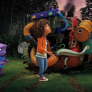 "In this image released by DreamWorks Animation, characters Oh, voiced by Jim Parsons, left, and Tip, voiced by Rihanna appear in a scene from the animated film ""Home."" (AP Photo/DreamWorks Animation)"