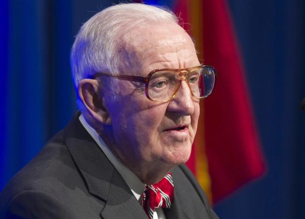 FILE - In this Wednesday, May 30, 2012, file photo, former U.S. Supreme Court Justice John Paul Stevens speaks at a lecture presented by the Clinton School of Public Service in Little Rock, Ark. Steve