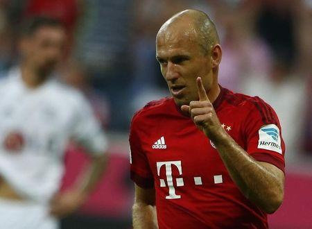 Munich's Robben celebrates a goal against Leverkusen during their German first division Bundesliga soccer match in Munich