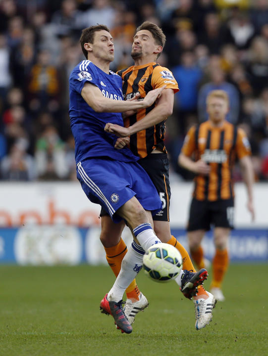 Football: Chelsea's Nemanja Matic in action with Hull City's Gaston Ramirez