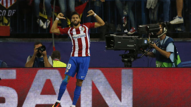 Atletico Madrid's Yannick Carrasco celebrates scoring their first goal