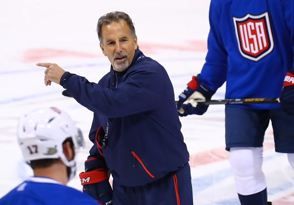 TORONTO, ON - SEPTEMBER 16: Head Coach of Team USA John Tortorella gives instructions at practice during the World Cup of Hockey 2016 at Air Canada Centre on September 16, 2016 in Toronto, Ontario, Canada. (Photo by Bruce Bennett/World Cup of Hockey via Getty Images)