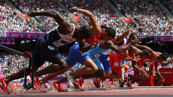 Britain's Dwain Chambers starts his the men's 100m round 1 heats at the London 2012 Olympic Games at the Olympic Stadium