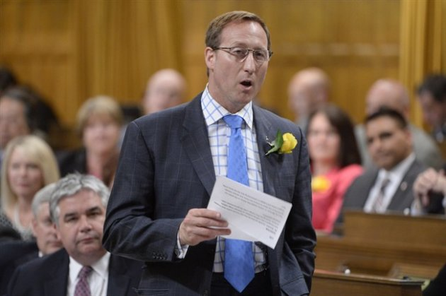 Justice Minister Peter MacKay rises during Question Period in the House of Commons in Ottawa on Wednesday, May 27, 2015. THE CANADIAN PRESS/Adrian Wyld