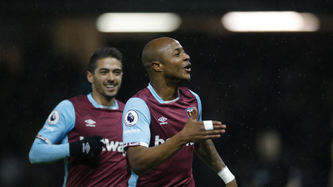 West Ham United's Andre Ayew celebrates scoring their first goal