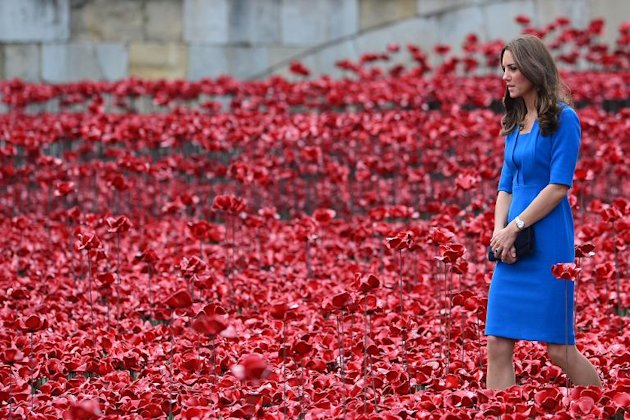 Britain's Catherine, Duchess of Cambridge, is pictured during a visit to the Tower of London's 'Blood Swept Lands and Seas of Red' poppy installation,...