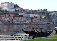 Historical wine transportion boats are moored at the Vila Nova de Gaia Port district of Porto. Portugal's Douro Valley is opening up its quintas, or port wine estates, to upscale tourists who are throwing it a lifeline in a bad economy