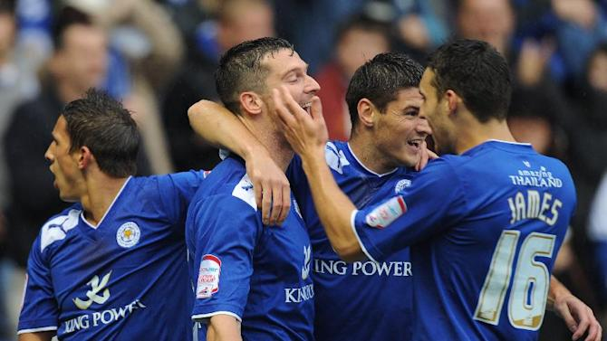 David Nugent, centre, hit a hat-trick as Leicester came out on top against Hull