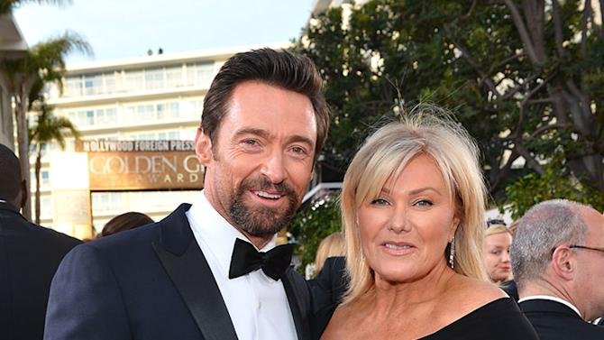 "NBC's ""70th Annual Golden Globe Awards"" - Red Carpet Arrivals: Hugh Jackman and Deborra-Lee Furness"