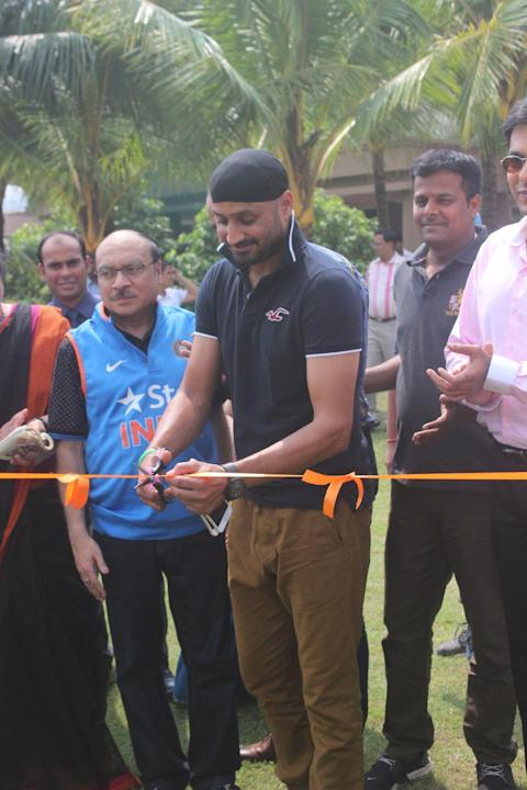 Kolkata: Indian cricketer Harbhajan Singh at his cricket academy in Kolkata on Oct 9, 2015. (Photo: IANS)