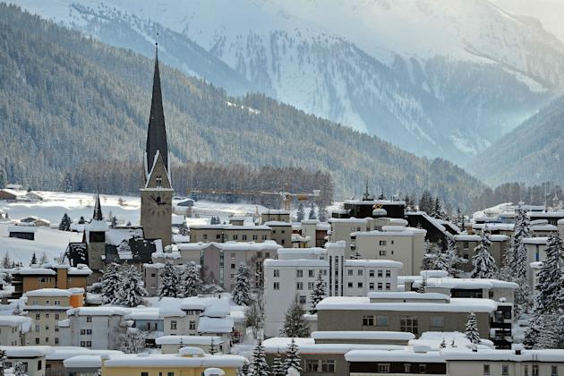 A general view of Davos and its St. John's Church in Switzerland.